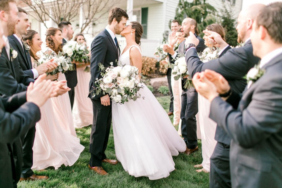 blush and navy farmhouse wedding