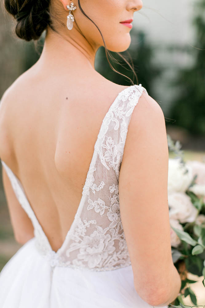 a line low back bridal gown