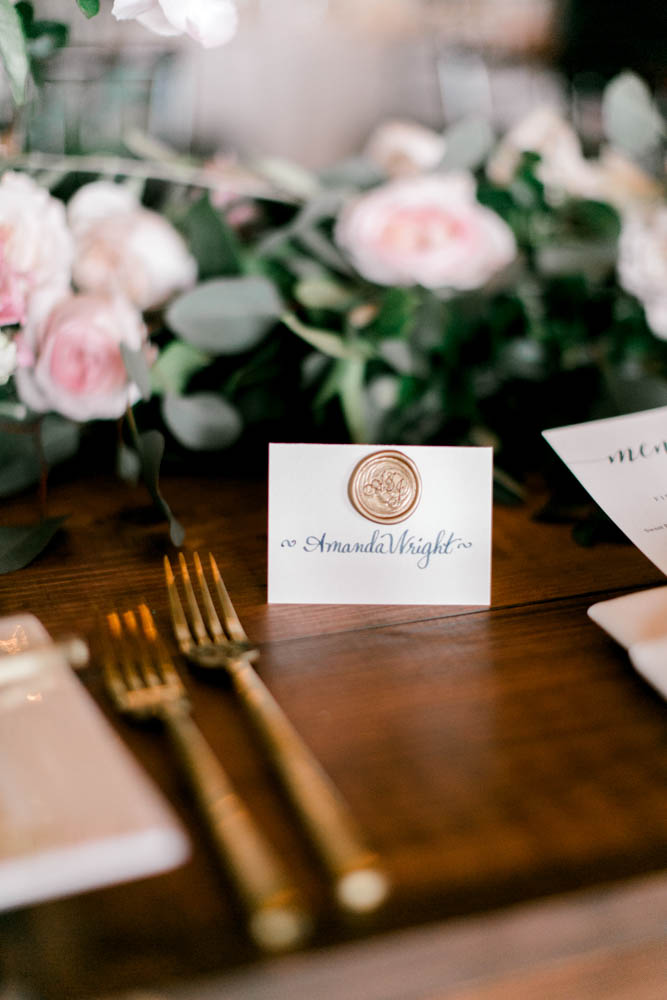 gold and navy wedding place card