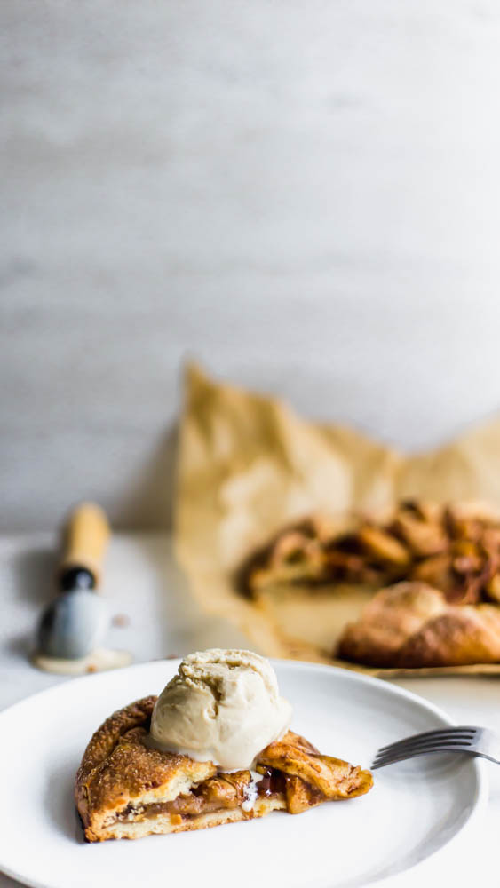 Rustic Apple Galette - If you're afraid of making pie - this Rustic Apple Galette is easier than pie - literally. The perfect apple filling is easily folded into my favorite, buttery pastrycrust.Cinnamon and coconut sugar bring out the flavors of the fresh apple in this sweet treat. This is the perfect pastry for a beginner baker. #pastry #apple #applepie #baking #homemade #sweets #dessert
