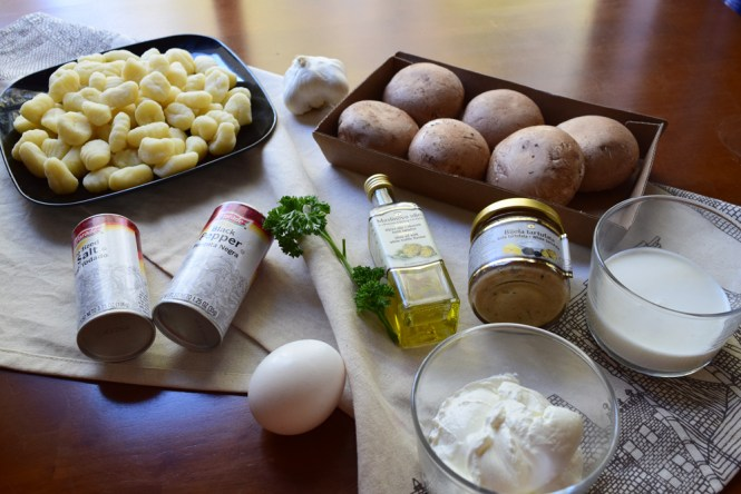 Ingredients Gnocchi with mushrooms in creamy truffle sauce