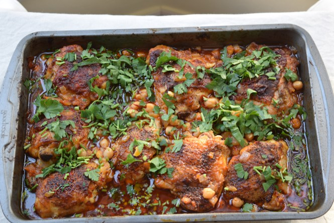 Roasted Chicken with Spicy Harissa Chickpeas