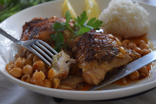 Eat Roasted Chicken with Spicy Harissa Chickpeas