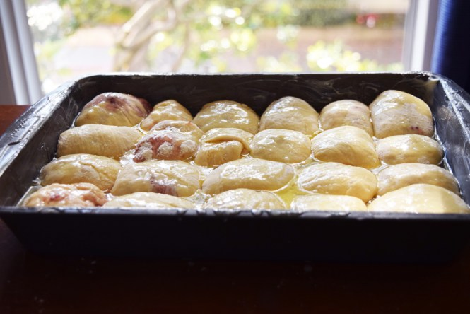 Cover Strawberry Jam Bread Buns with Butter