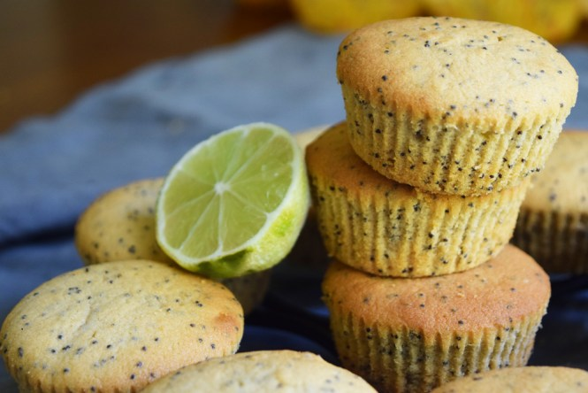 Baked lemon, lime, poppy seed muffins
