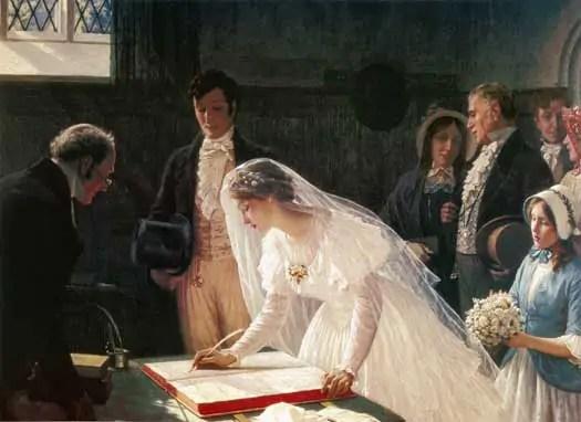 Edmund Blair Leighton   signing the register