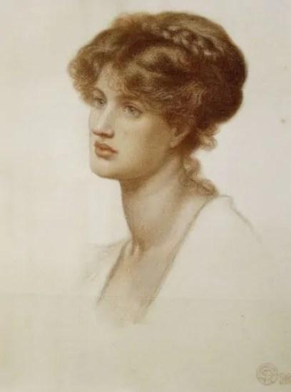 Portrait Of Mrs. William J. Stillman, Nee Marie Spartali, Bust Length. Dante Gabriel Rossetti (1828-1882). Coloured Chalk On Paper, 1869.