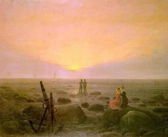 Caspar-David Friedrich Moon rising over Sea