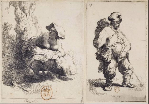 "Rembrandt, ""Pissing Man,"" 1631. Left: ""Pissing Woman,"" 1631."