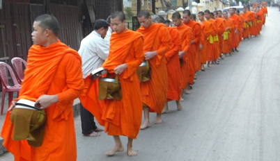 Monks procession in Luang Prabang