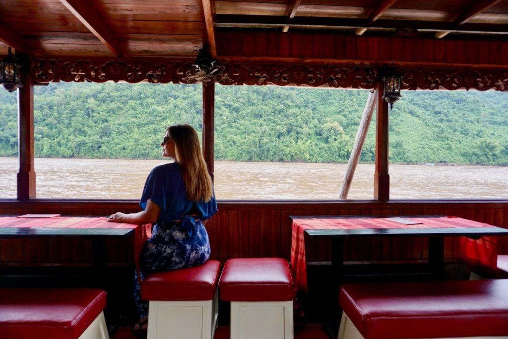 girl river boat mekong