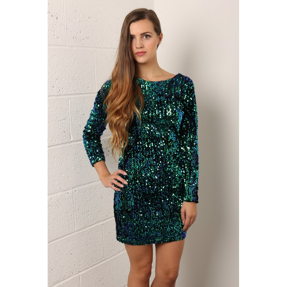 Image result for Long sleeve green sequin dress