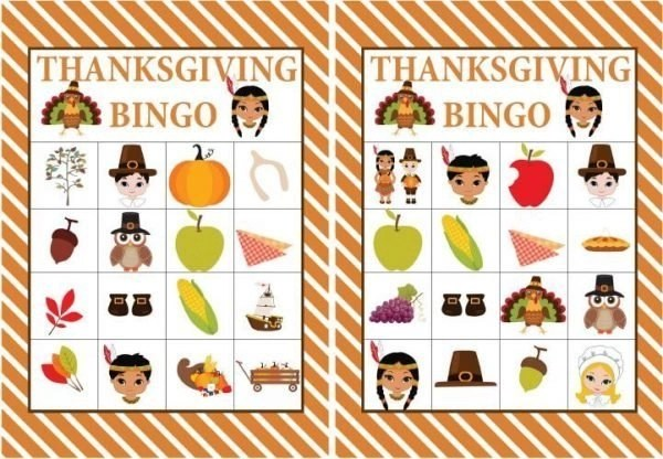 Free Printable Thanksgiving Bingo Game Kids Thanksgiving