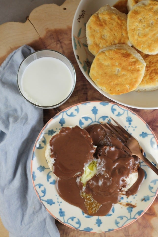 Chocolate Gravy Recipe is a family favorite breakfast and chocolate for breakfast is always a great idea! From MissintheKitchen.com