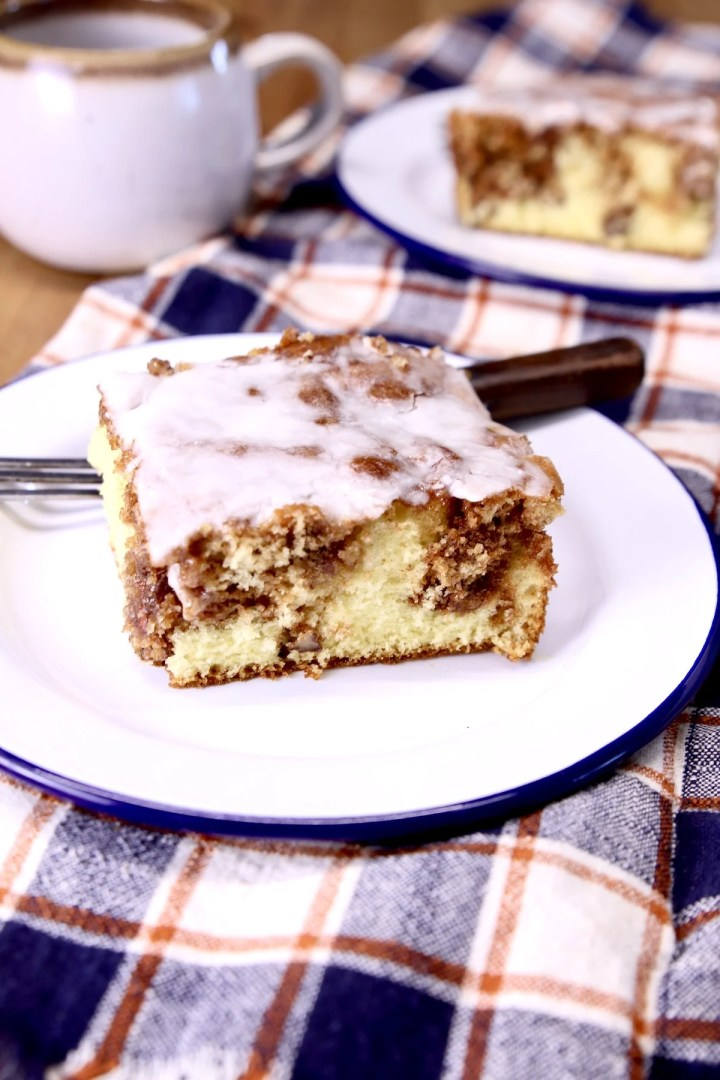 Cinnamon Coffee Cake on a saucer with a fork