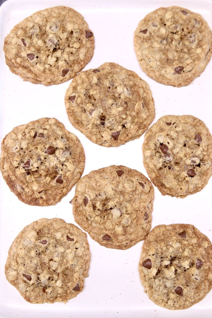 oatmeal chocolate chip cookies on a white platter