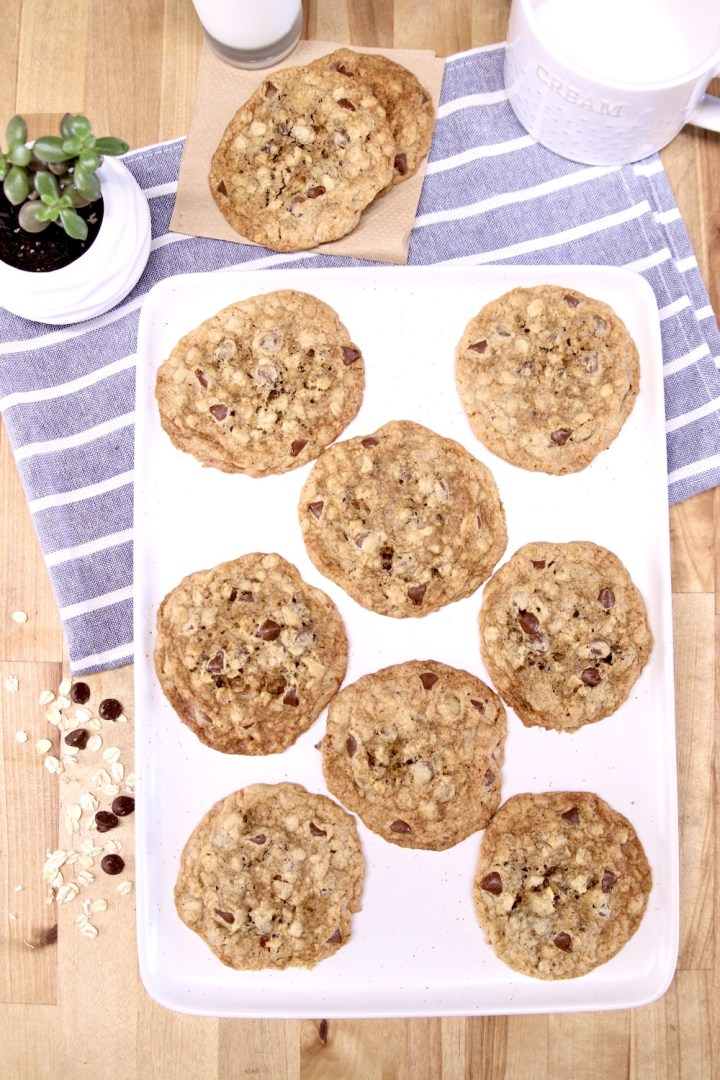 chocolate chip oatmeal cookies on a platter