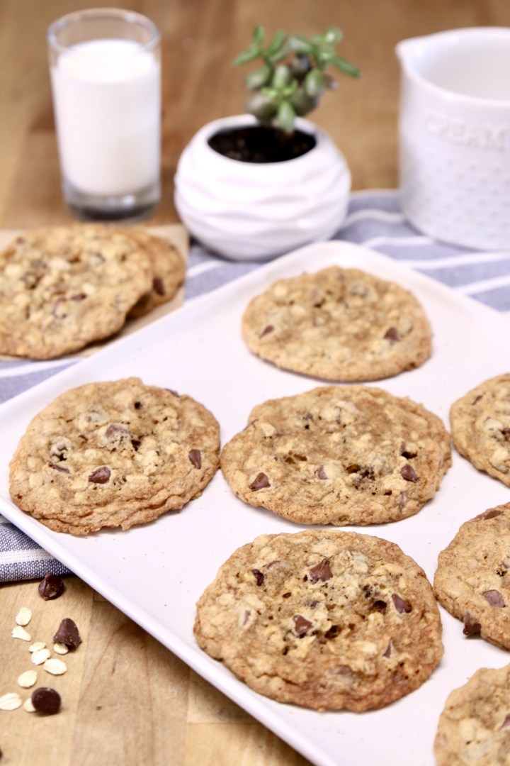 platter of chocolate chip oatmeal cookies