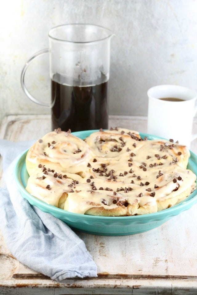 Chocolate Chip Sweet Rolls with Peanut Butter Icing Recipe | MissintheKitchen.com