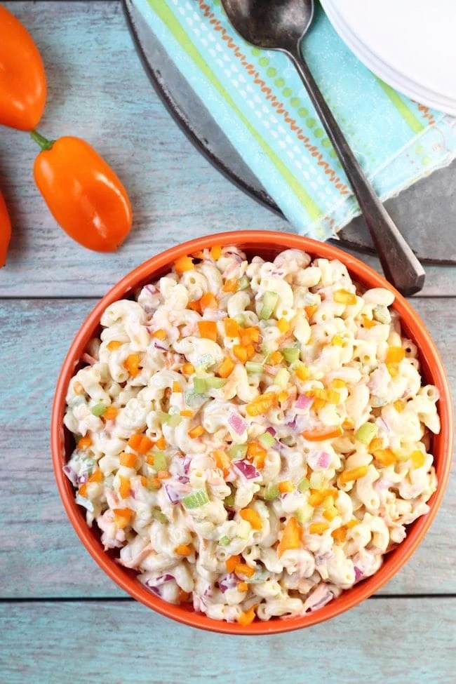 The Best Macaroni Salad Recipe with Sweet Peppers