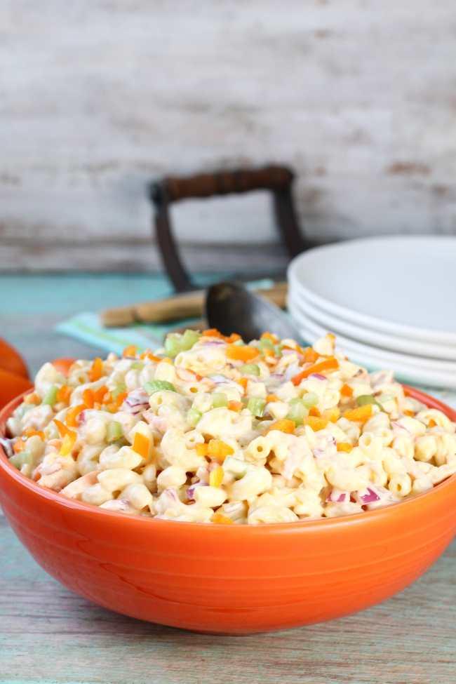 The Best Macaroni Salad Recipe in orange bowl