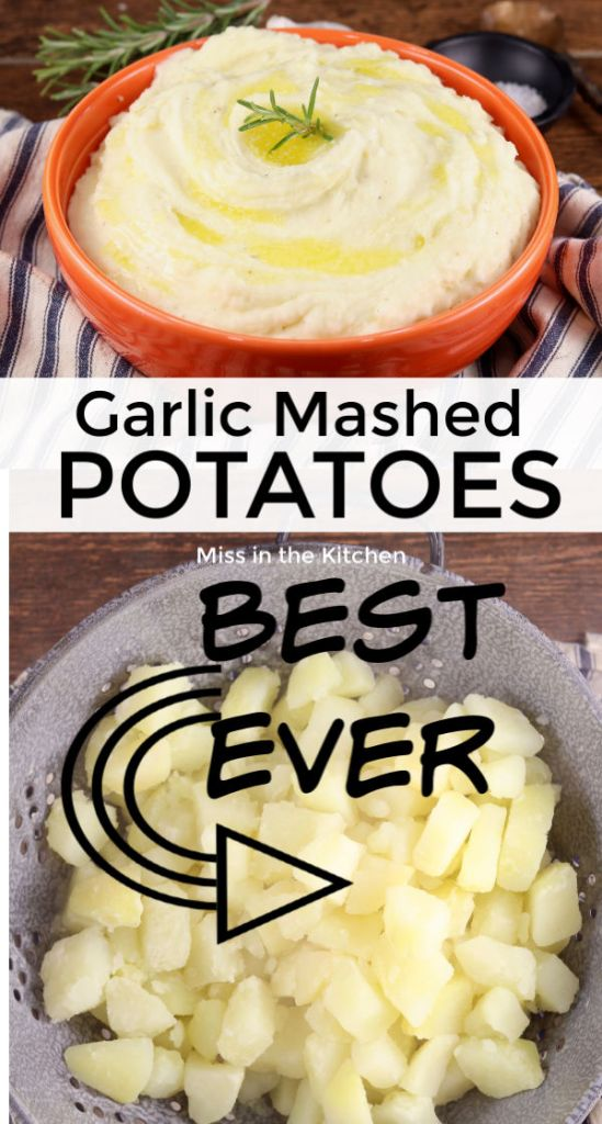 Collage of garlic mashed potatoes