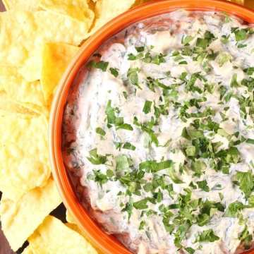 Orange bowl with spinach dip and tortilla chips