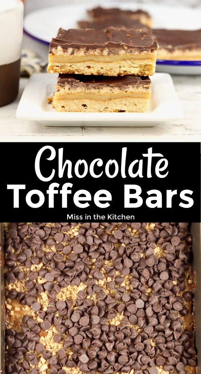 Chocolate Toffee Bars collage with text overlay