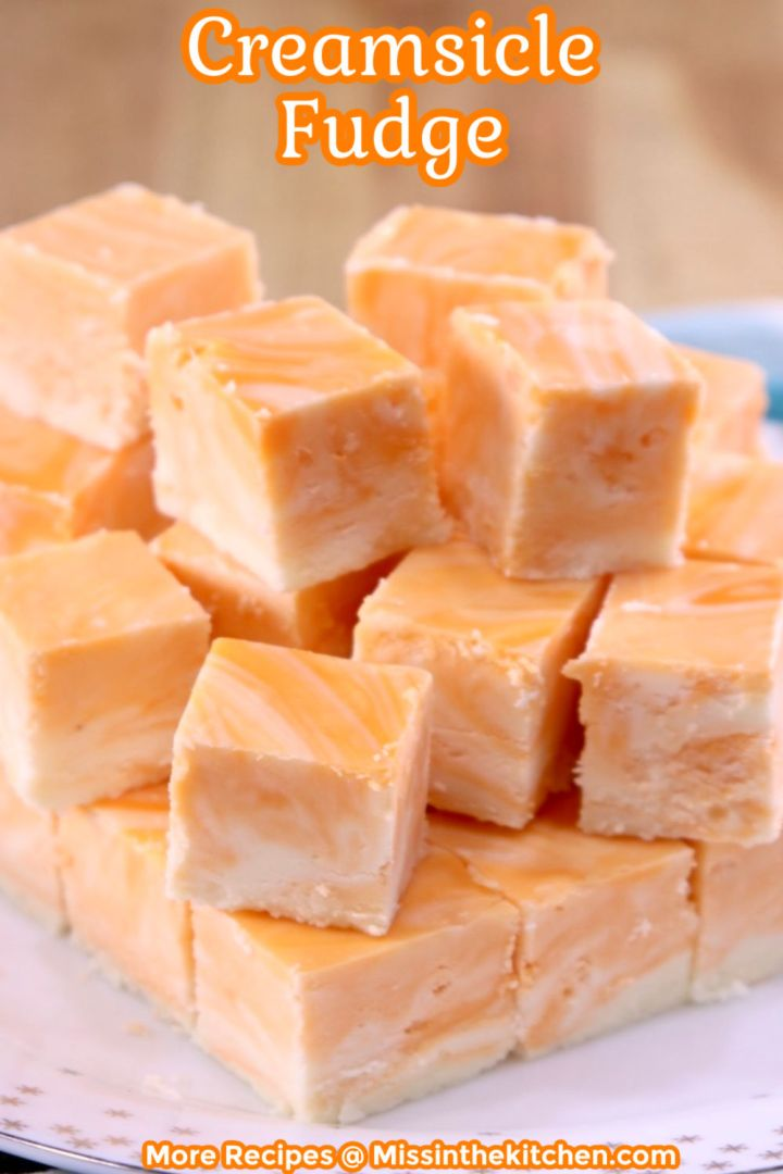 Creamsicle Fudge on a plate with text overlay