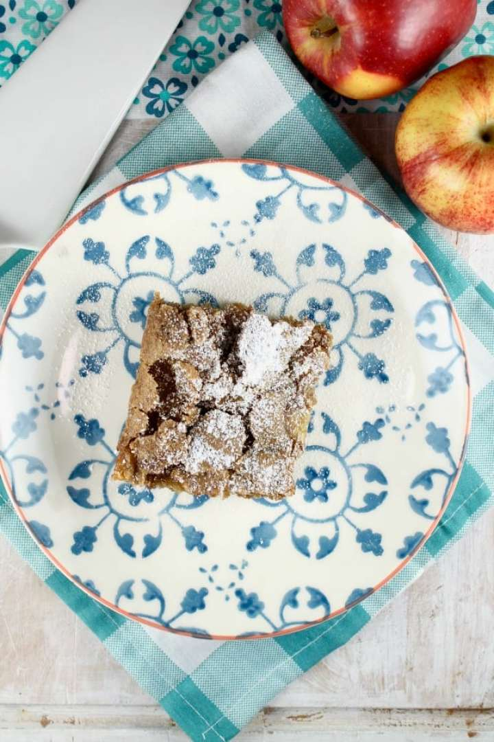 slice of apple cake on a plate with powdered sugar garnish