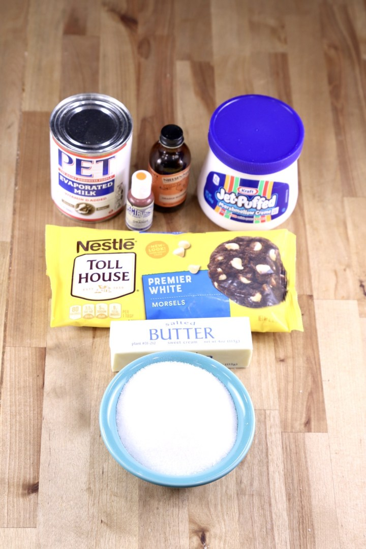 Ingredients for Creamsicle Fudge