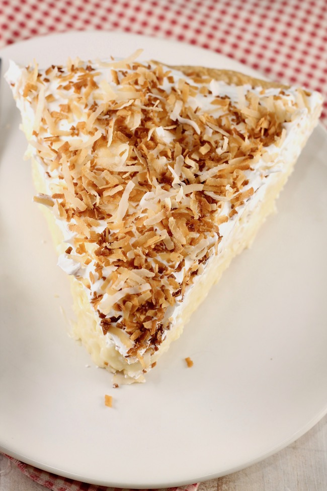 Easy Coconut Cream Pie Slice with toasted coconut