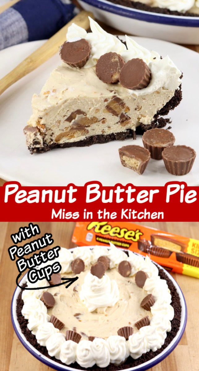 Collage - peanut butter pie, slice and whole pie - text overlay of title in center