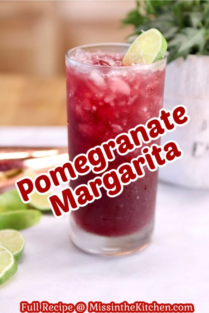 Pomegranate Margarita cocktail with text overlay