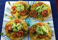 Avocado Crema over Shrimp Toastadas | Miss in the Kitchen