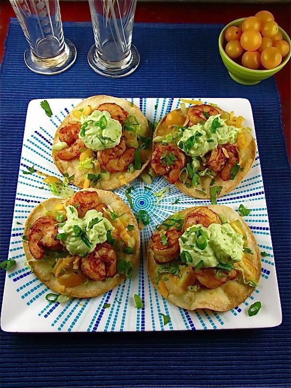 Avocado Crema over Shrimp Toastadas | Miss in the Kitchen