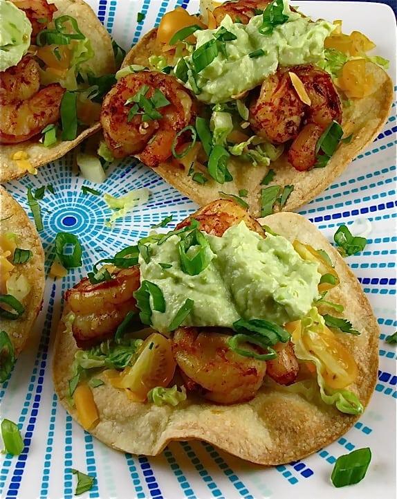 Avocado Crema over Shrimp Toastadas   Miss in the Kitchen