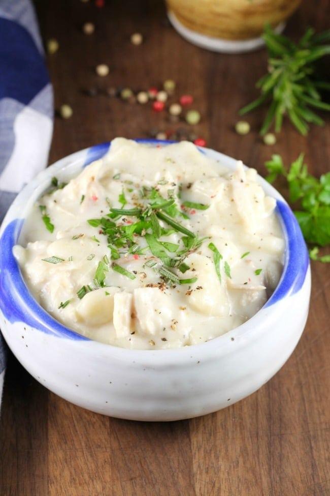 Homemade Chicken and Dumplings Recipe from MissintheKitchen.com #dumplings #chicken #comfortfood