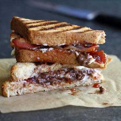Nestle Crunch Bacon-Raspberry Panini for Nestle Kitchens by Miss in the Kitchen