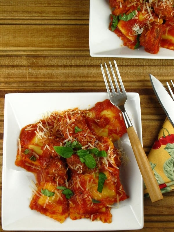 Ravioli with Sausage Meatballs | Miss in the Kitchen