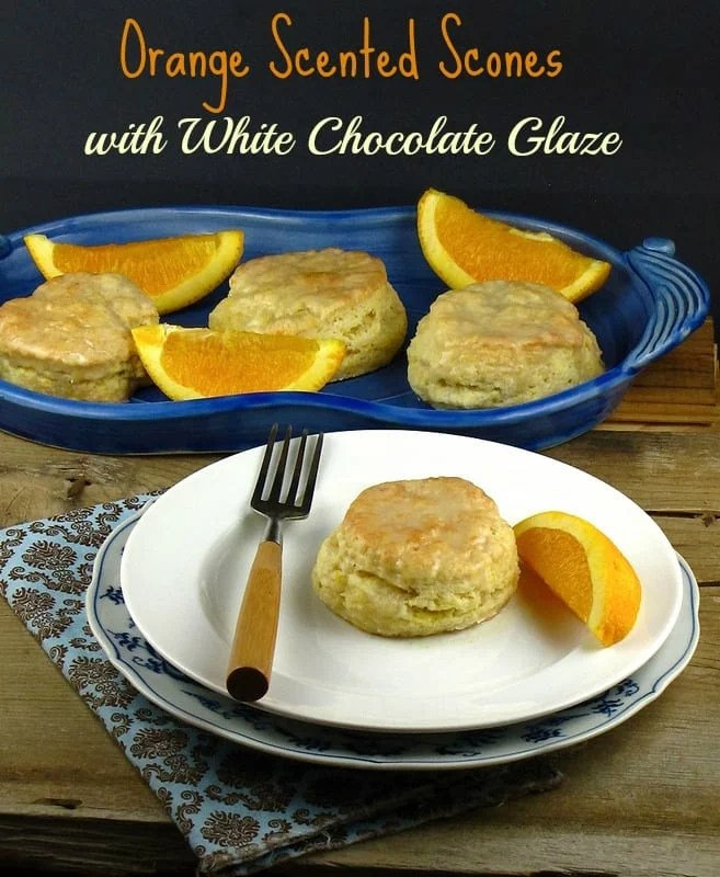 Orange Scented Scones with White Chocolate Glaze from missinthekitchen.com