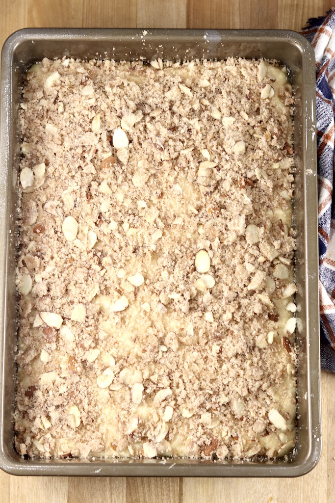 Yeasted coffee cake after rising ready to bake