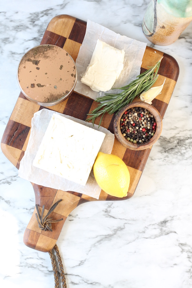 Ingredients for Whipped Feta Spread with garlic, rosemary and lemon