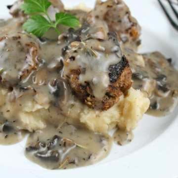 Meatballs with Mushroom Gravy close from Miss in the Kitchen