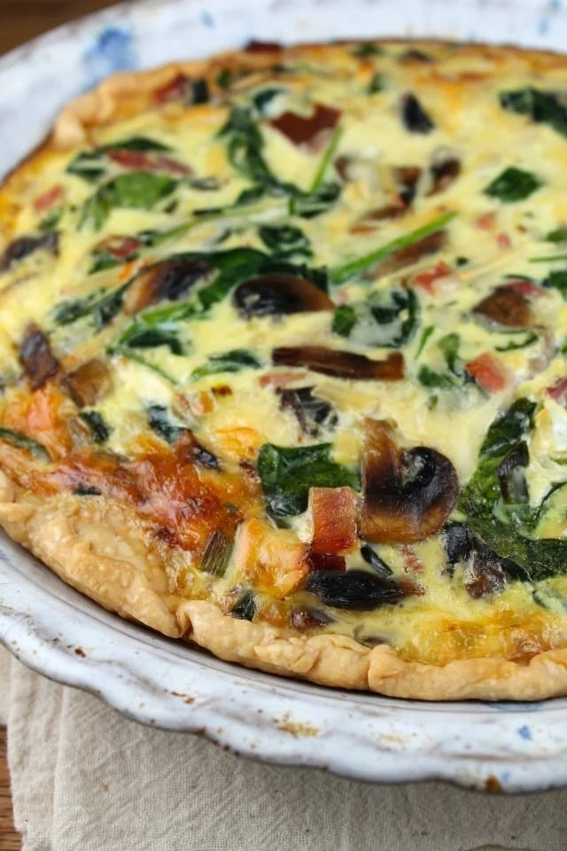 Ham, Mushroom & Spinach Quiche from Miss in the Kitchen
