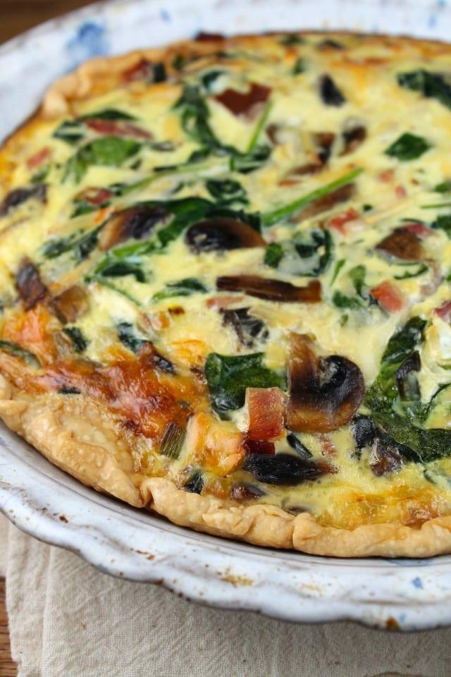 Ham, Mushroom & Spinach Quiche Recipe for brunch or dinner. From MissintheKitchen.com