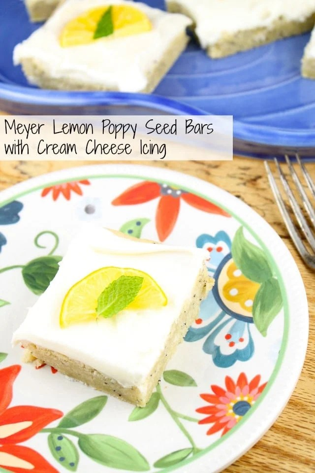 Meyer Lemon Poppy Seed Bars with Cream Cheese Icing from Miss in the Kitchen