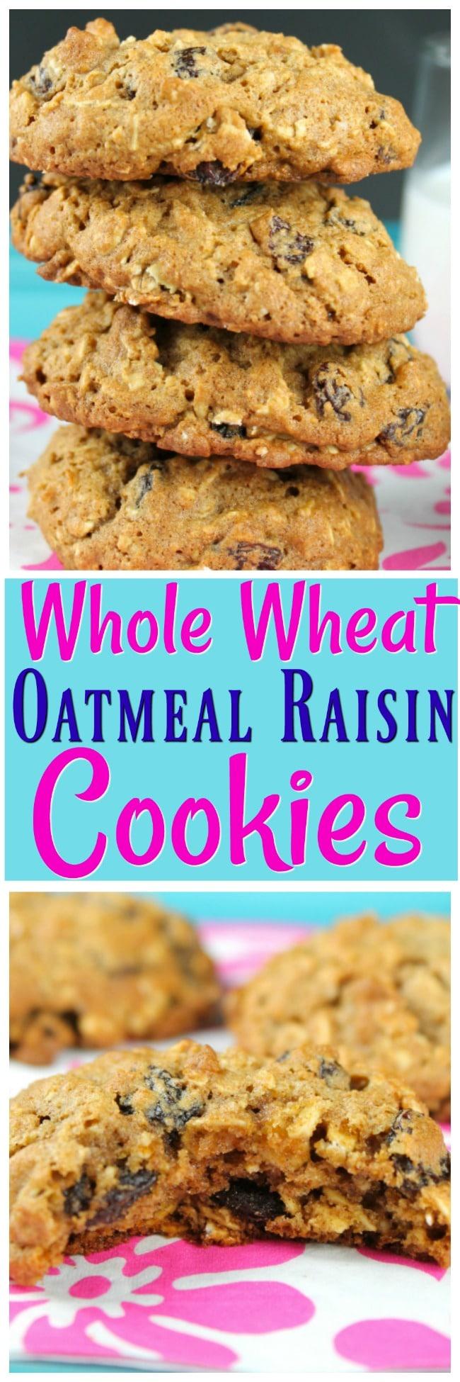 Whole Wheat Raisin Cookies Collage