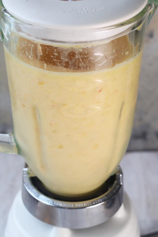 Blender of Frozen Peach Margaritas