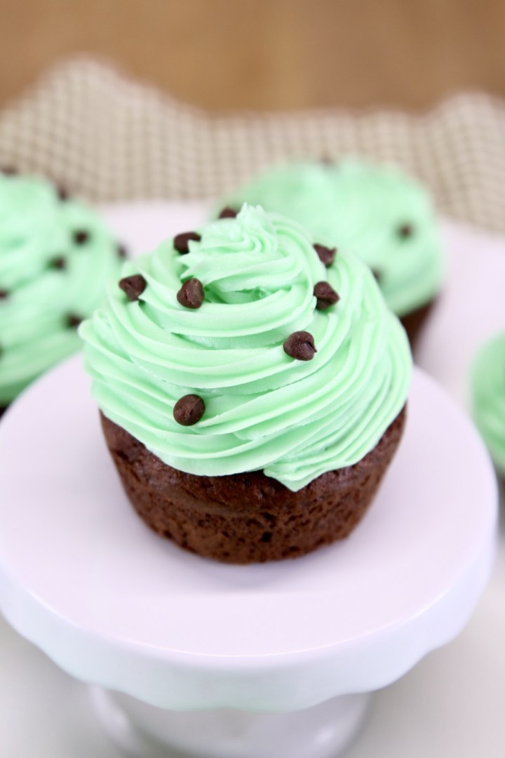 Mint Chocolate Cupcake with mini chocolate chips on a cupcake pedestal